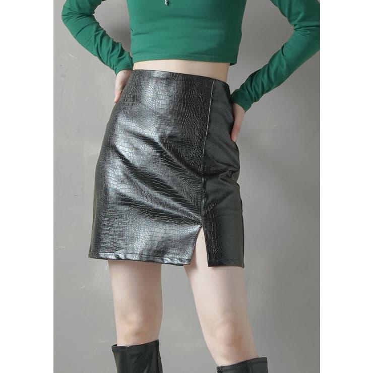 パイソン柄エコレザーミニスカート ブラック レディース   SPINNS   詳細画像1
