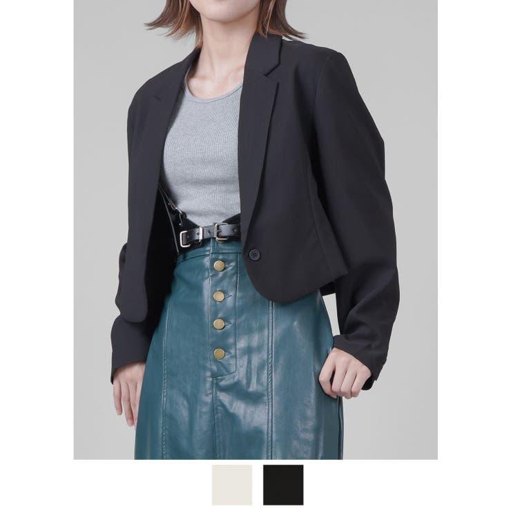 テーラードジャケット ショート丈 ブラック   SPINNS   詳細画像1