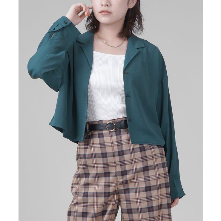 ショート丈開襟シャツ 長袖 ブラック | SPINNS | 詳細画像1