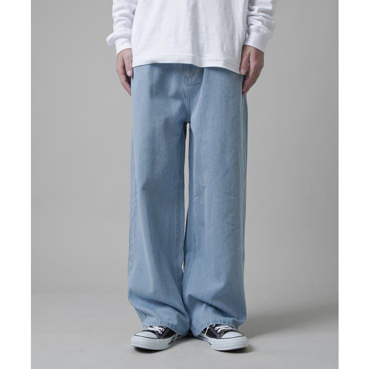 デニムバギーパンツ ブラック ブルー   SPINNS【MEN】   詳細画像1