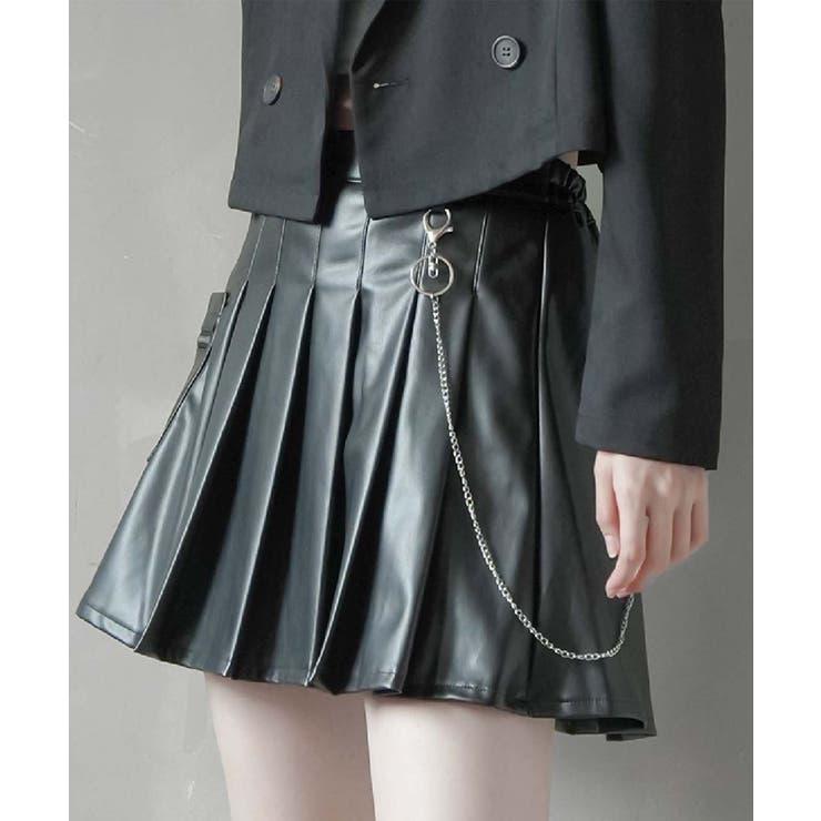 エコレザープリーツミニスカート チェーン付き ブラック   SPINNS   詳細画像1