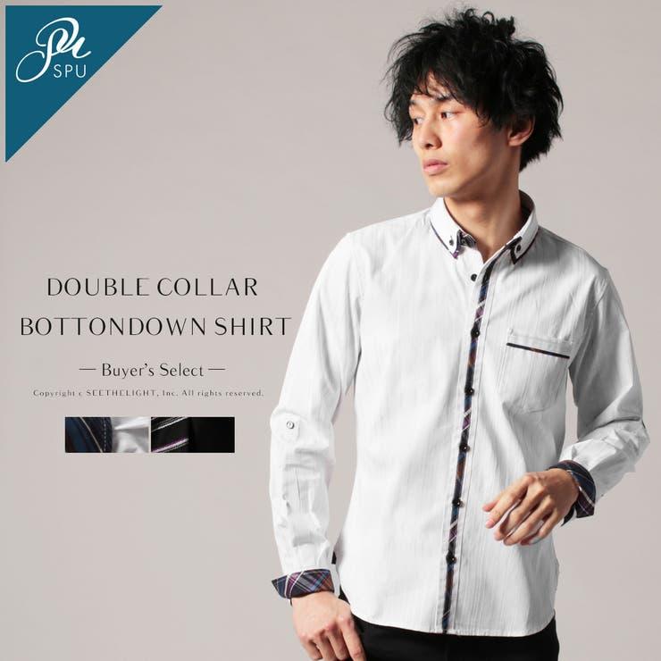【新】【アイテム】リバーシブルストライプダブルカラーボタンダウンシャツ【ブランド】Buyer'sSelect | 詳細画像