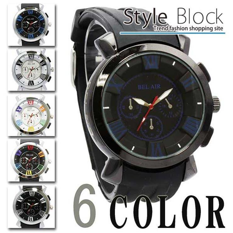 腕時計ミディアムフェイス メンズ ラバーベルト ユニセックス 防水 カジュアル ビジネス オフィス Bel AirCollection ネイビー ホワイト ブラック ブルー メンズファッション メンズ 秋冬