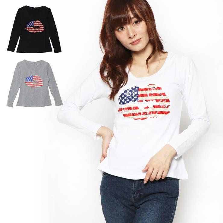 ストーン付プリント長袖Tシャツの商品イメージ | 詳細画像