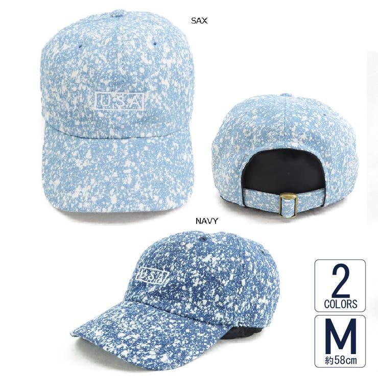 キャップ帽子メンズレディース春夏UVカットスプラッシュブリーチデニムローキャップVS3-088 | 詳細画像
