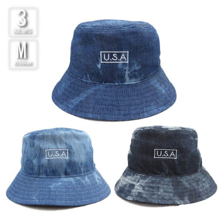 バケットハット帽子メンズレディース春夏UVカットUSA刺繍タイダイデニムバケットVS8-049   詳細画像