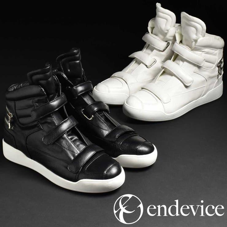 ハイカットスニーカー メンズ 靴  ベルクロ スニーカー ジップ ブラック 黒 ホワイト 白 endeviceエンデヴァイス ハイカット 2016 冬 カジュアルシューズ EPS515-1