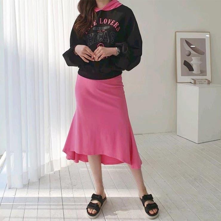 バイカラーロゴフーディー&フレアスカート 韓国ファッション 大人ファッション   sweets24   詳細画像1