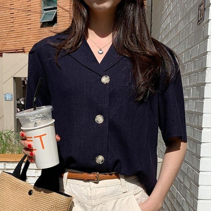 ミルクリネン半袖ジャケット 韓国ファッション 可愛い | 66GIRLS | 詳細画像1