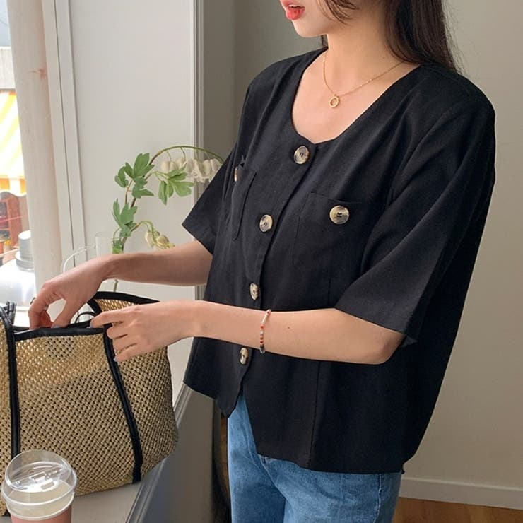 オブリネンボタンジャケット 韓国ファッション 可愛い   66GIRLS   詳細画像1