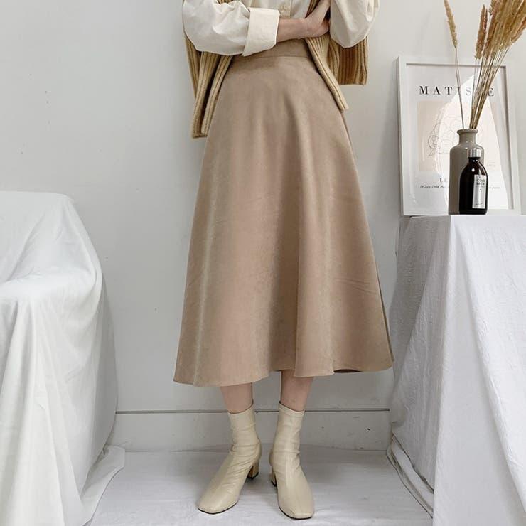 ベーシックロングフレアスカート 韓国ファッション レディース   4D LOOK   詳細画像1