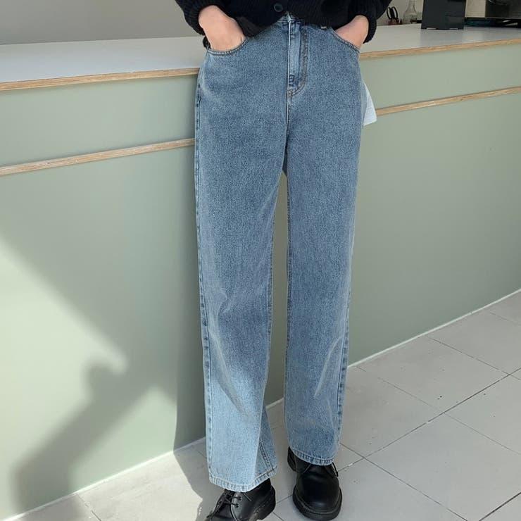 ワイドストレートジーンズ 韓国ファッション デイリーコーデ | MOCOBLING | 詳細画像1