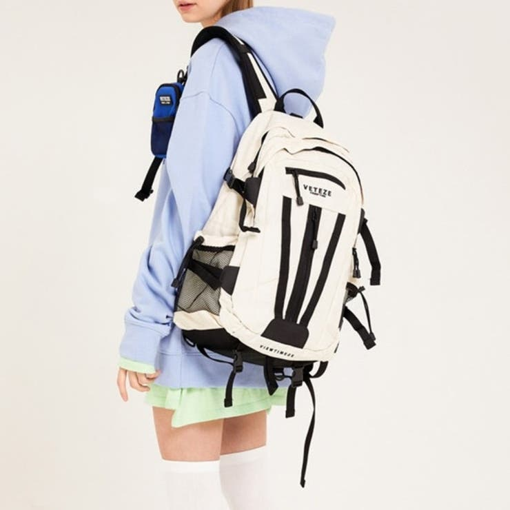 サイドメッシュポケット配色リュック 韓国ファッション 韓国オシャレ | K-Street | 詳細画像1