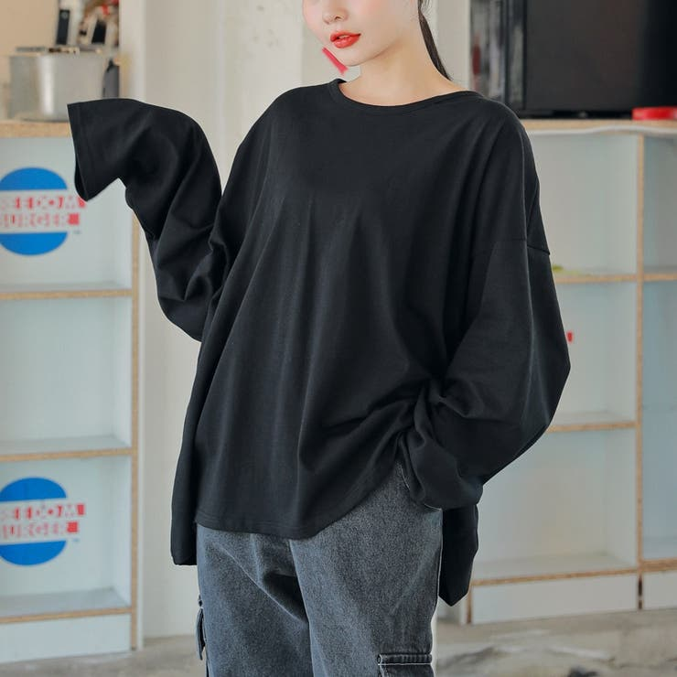 5ColorsオーバーサイズコットンロングTシャツ 韓国ファッション 韓国オシャレ | HOTPING | 詳細画像1