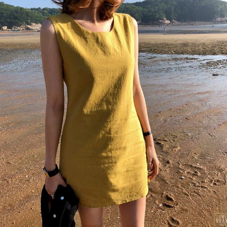 ベーシックノースリーブミニワンピース 韓国ファッション 韓国オシャレ   IMVELY   詳細画像1