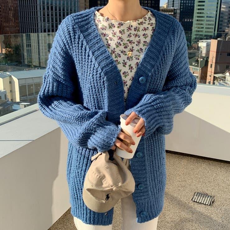 Vネック畦編み切替カーディガン 韓国ファッション 可愛い | 66GIRLS | 詳細画像1