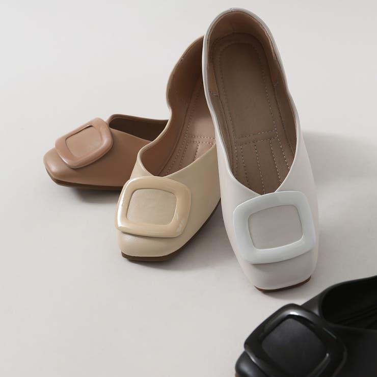 スクエアパーツフラットシューズ 韓国ファッション 韓国靴 | Chaakan | 詳細画像1