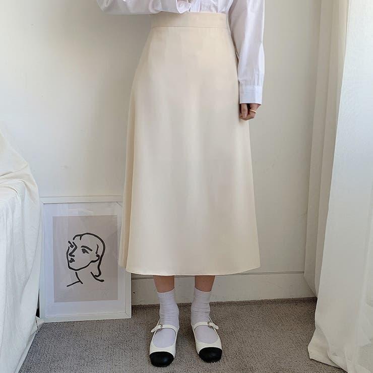 シンプルロングフレアスカート 韓国ファッション レディース | 4D LOOK | 詳細画像1