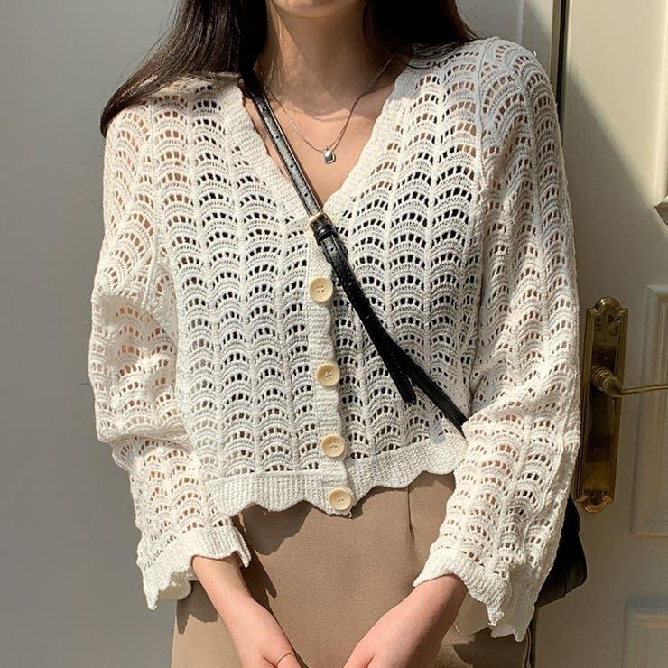 クロシェショートカーディガン 韓国ファッション 韓国オシャレ | MERONGSHOP | 詳細画像1