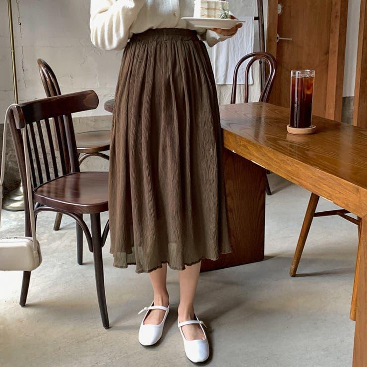 リンクルプリーツフレアロングスカート 韓国ファッション 韓国オシャレ | HOTPING | 詳細画像1