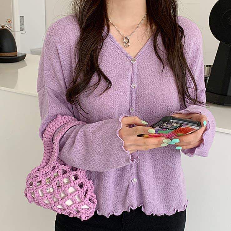 メロウフリルスラブカーディガン 韓国ファッション 可愛い   66GIRLS   詳細画像1