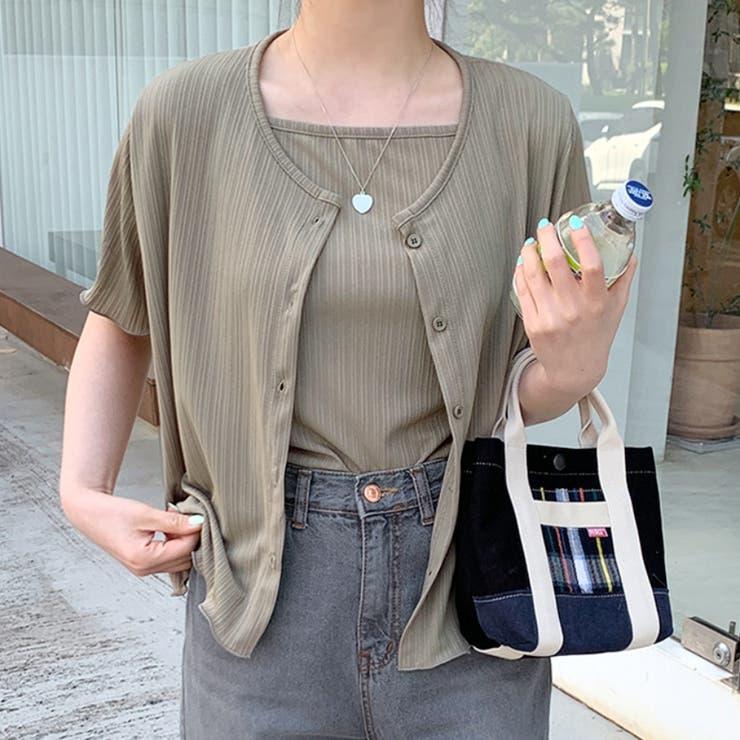 ソリッドカラーキャミソール&カーディガン 韓国ファッション 可愛い   66GIRLS   詳細画像1