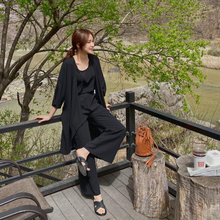 ロングガウン&スリーブレス&パンツSET 韓国ファッション 韓国オシャレ   HOTPING   詳細画像1