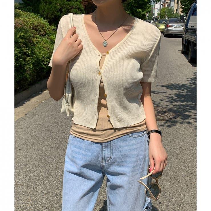 半袖Vネックリブカーディガン 韓国ファッション 韓国オシャレ   MERONGSHOP   詳細画像1