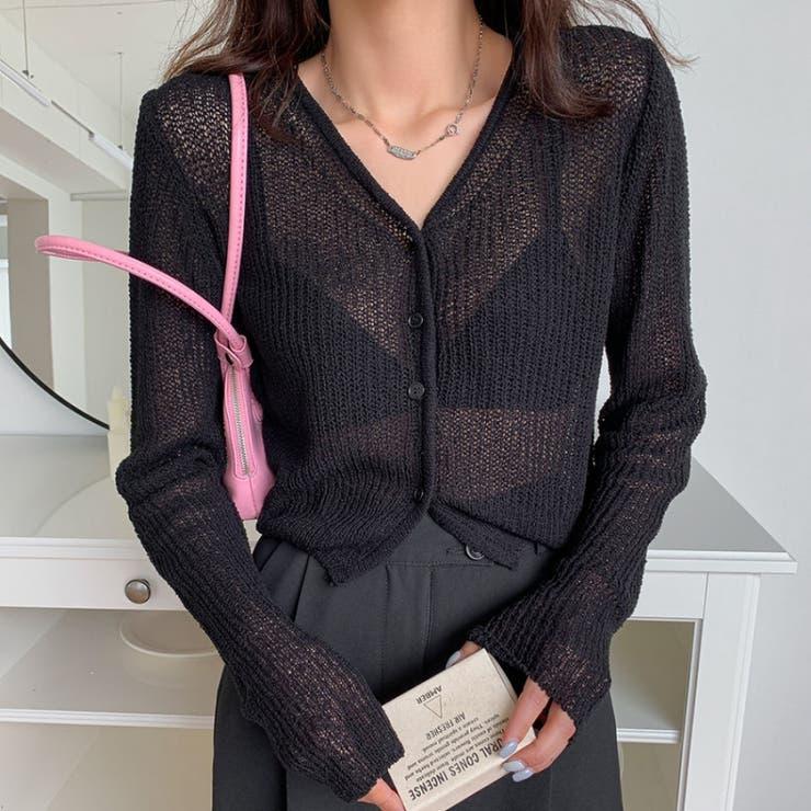 シンプル透かし編みカーディガン 韓国ファッション 韓国オシャレ   MERONGSHOP   詳細画像1