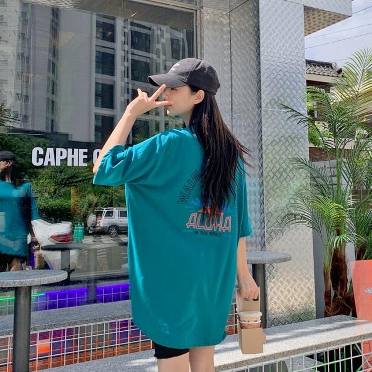レタードハーフスリーブコットンTシャツ 韓国ファッション 韓国オシャレ | HOTPING | 詳細画像1