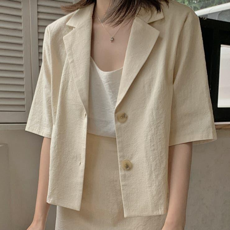 ベーシック半袖ショートジャケット 韓国ファッション 韓国オシャレ | HOTPING | 詳細画像1