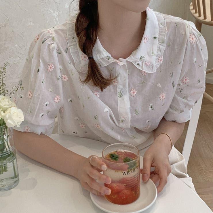 コットンフラワー刺繍ブラウス 韓国ファッション 韓国オシャレ | HOTPING | 詳細画像1