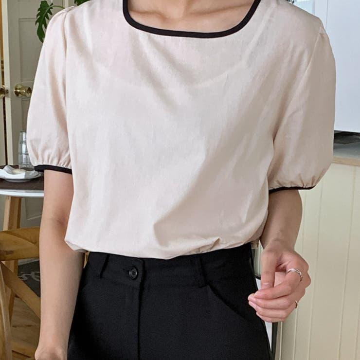 配色ラインスクエアネックブラウス 韓国ファッション 韓国オシャレ | HOTPING | 詳細画像1