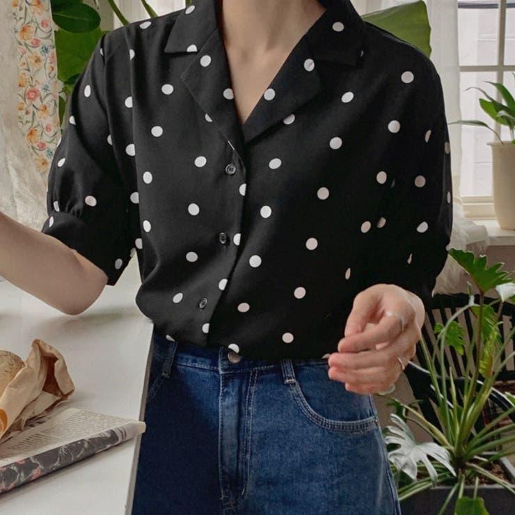 ドットパターンオープンカラーブラウス 韓国ファッション 韓国オシャレ   HOTPING   詳細画像1
