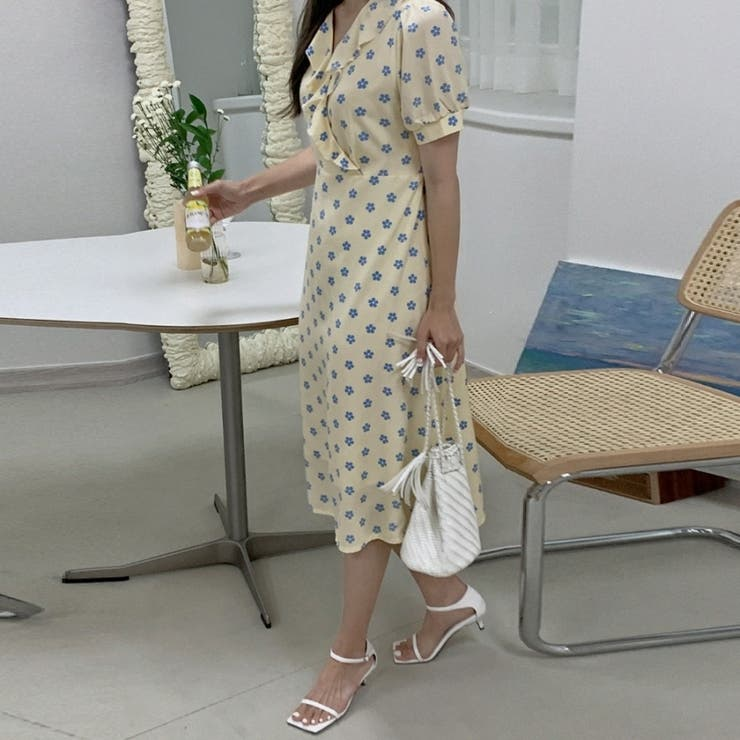ラッフルカシュクールフラワーワンピース 韓国ファッション 韓国オシャレ | HOTPING | 詳細画像1