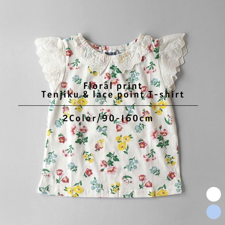 花柄プリント天竺&レースポイントTシャツ TETEMOSH テテモッシュ | tetemosh | 詳細画像1