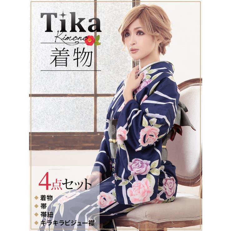 Tika ティカ 着物4点セット (着物+帯+帯紐+キラキラビジュー襟) 紺地×ローズ×ストライプ柄 着物セット レディース 女性着物きもの フリーサイズ レトロ