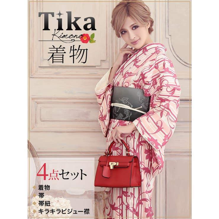 Tika ティカ 着物4点セット (着物+帯+帯紐+キラキラビジュー襟) 白地×百合×ストライプ柄 着物セット レディース 女性着物きもの フリーサイズ レトロ