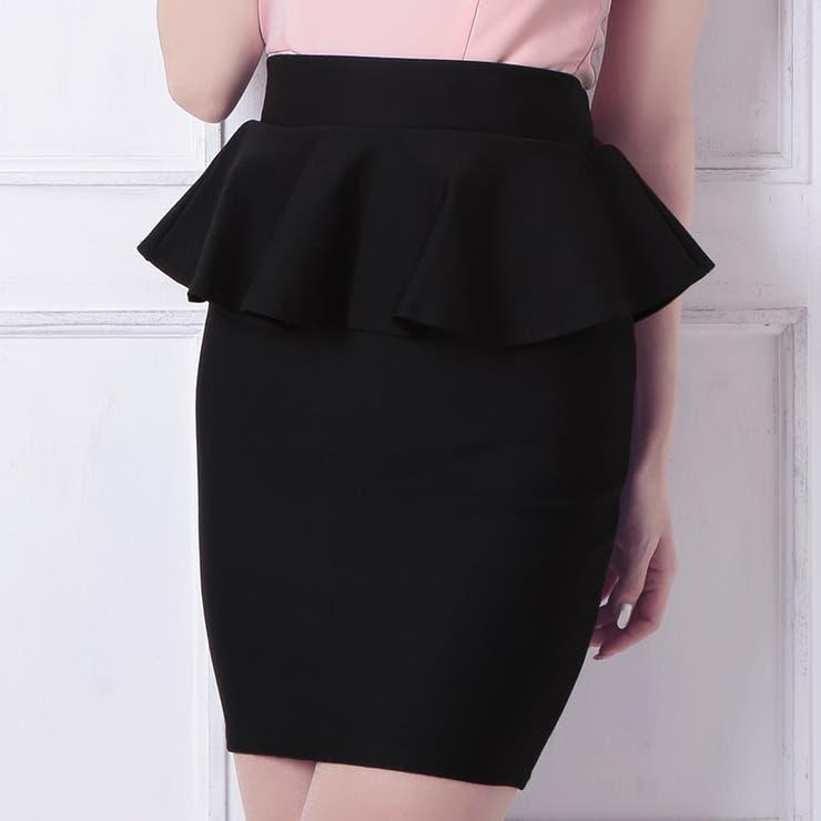 Tika ティカ ぺプラムタイトミニスカート 黒 ブラック Mサイズ キャバ スカート ドレス キャバドレス ナイトドレスパーティードレス 結婚式 二次会