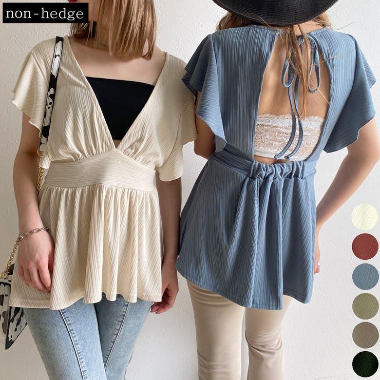 両Vネックフリルチュニック レディース ファッション | non-hedge  | 詳細画像1