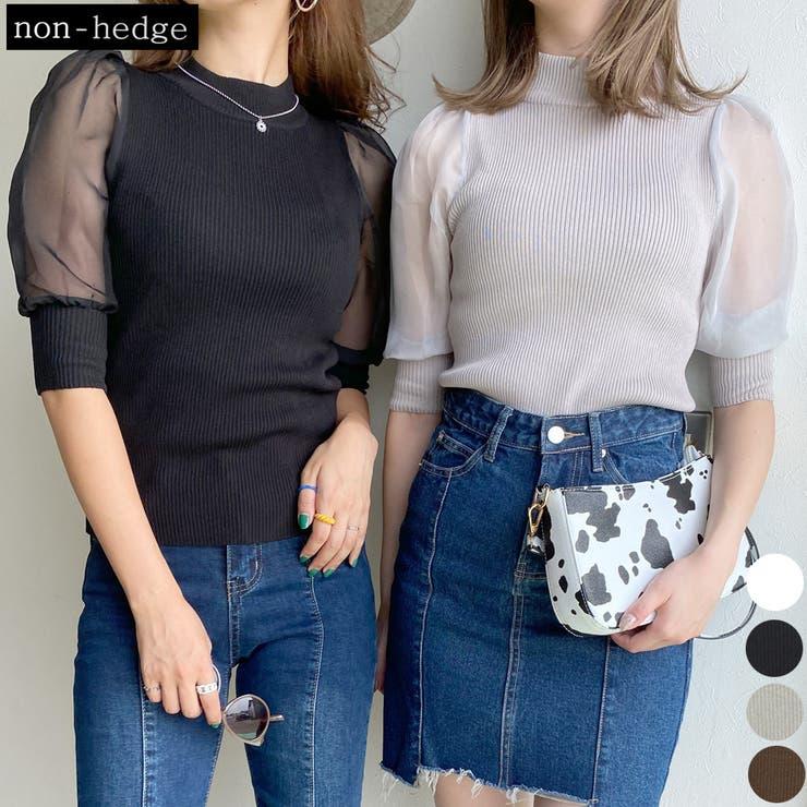 袖シアーリブニットハイネックトップス レディース ファッション | non-hedge  | 詳細画像1