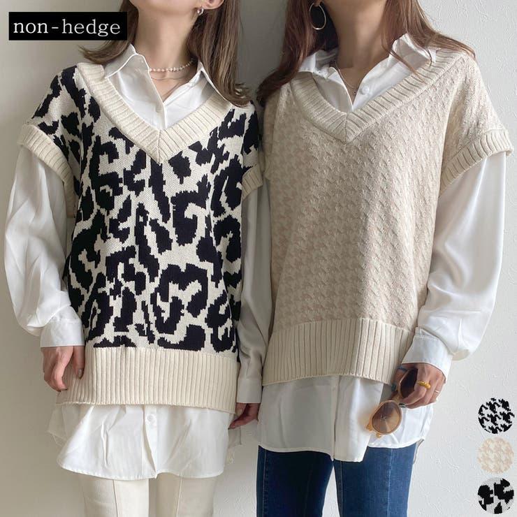 ニットベストドッキングシャツチュニック レディース ファッション   non-hedge    詳細画像1