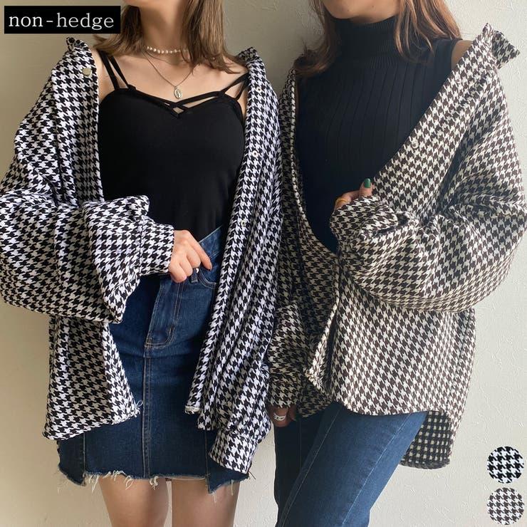 千鳥柄ビックシャツ レディース ファッション | non-hedge  | 詳細画像1