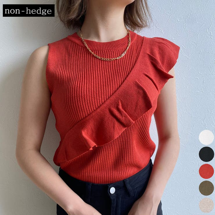 アシメフリルニットトップス レディース ファッション | non-hedge  | 詳細画像1