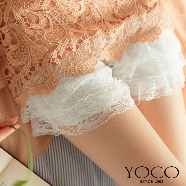 【YOCO】透かしレースティアードショートパンツ-5003704【ロングセラー】【春夏】【秋冬】