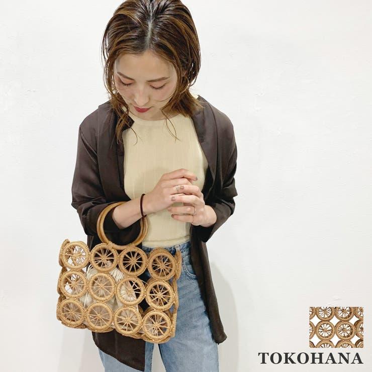 巾着付きサークル柄カゴバッグ レディース 春夏    TOKOHANA   詳細画像1
