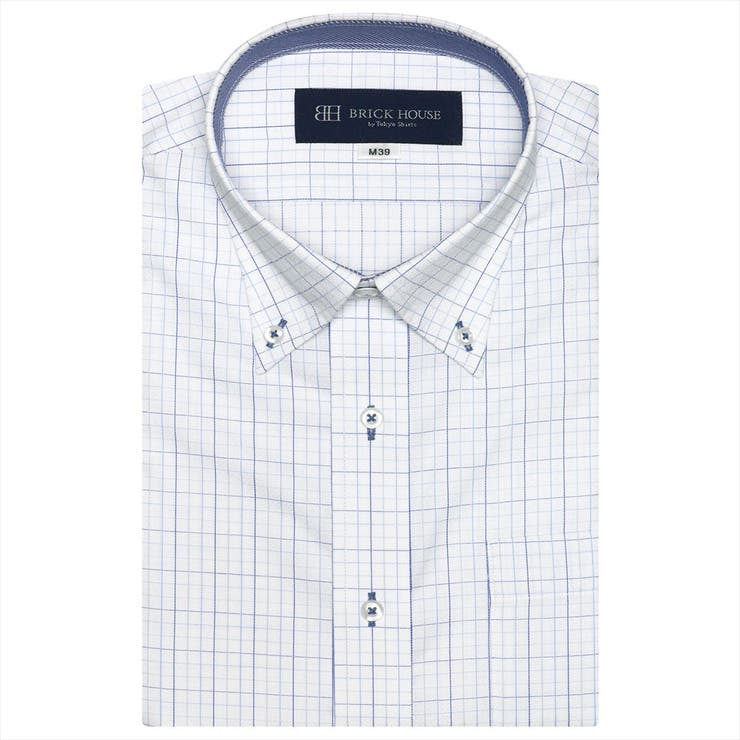 ワイシャツ半袖形態安定ボタンダウン白×サックスチェック(再生ポリエステル)JustStyle   詳細画像