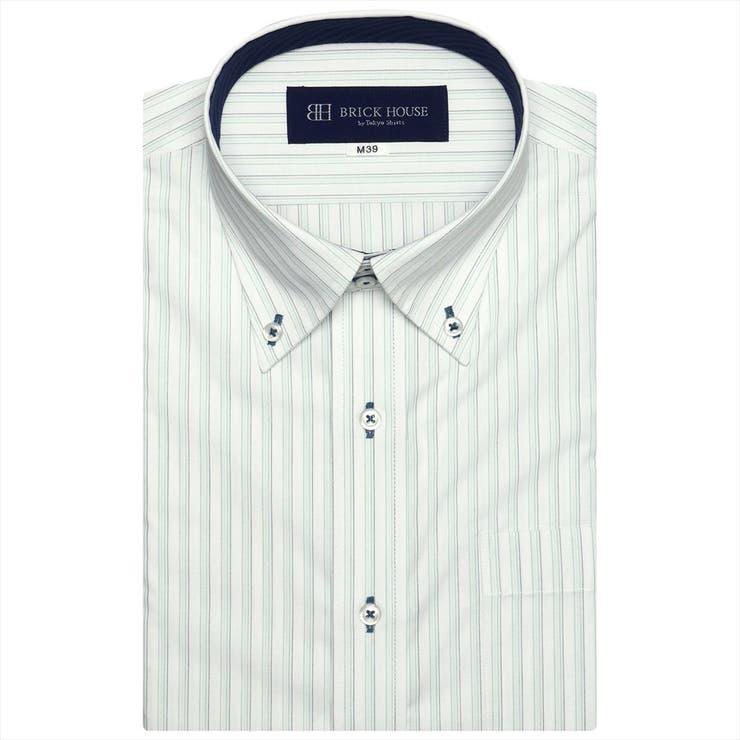 ワイシャツ半袖形態安定ドゥエボットーニボタンダウン白×グリーン系ストライプ(再生ポリエステル)JustStyle   詳細画像
