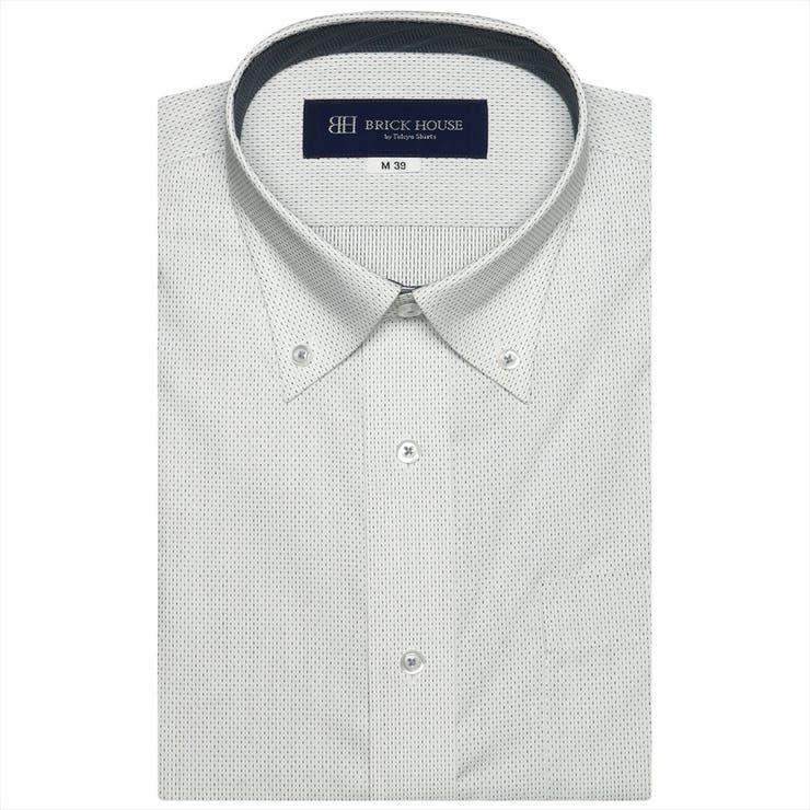 ワイシャツ半袖形態安定ボタンダウン白×黒刺子調柄(再生ポリエステル)JustStyle | 詳細画像