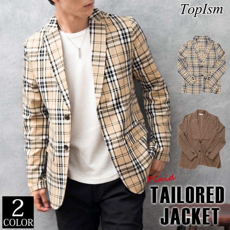 テーラードジャケット メンズ チェック柄   TopIsm   詳細画像1